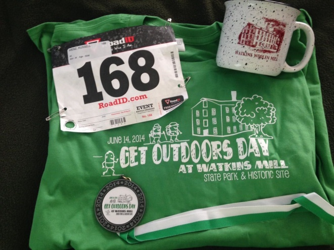 Nice swag from Get Outdoors Day at Watkins Mill.