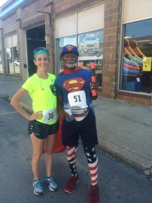 Sarah Wilson with Michael Wheeler at the 5K in Richmond, a fundraiser to support 6-year-old Izzy Smith, who was injured in a lawn mower accident.