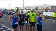 Running club members LeeJae Wansing, Stacey Ellerman Scherer, Sarah Wilson, Russell Wenz and Melissa Miller Bartlett participated in the inaugural KC Northland Race for Hope Half Marathon & 5K.