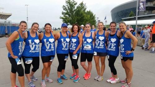 LeeJae Wansing, Melissa Bartlett and friends at the Royals 5K race.