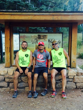 The finish line, 31 miles and 12 hours later: Russell Wenz, Carlos Rodriguez and Don Ledford ran R2R together.