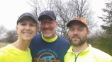 Linda Pasalich, Jody Pasalich and Russell Wenz earned third, second and first place in their age groups at the Pi Day River Rotation Half Marathon trail race.